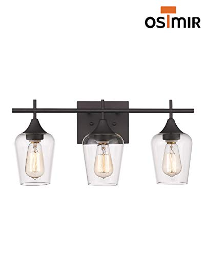 Osimir 3 Light Wall Sconce Industrial Bathroom Vanity Light Over Mirror Wall Lamp For Makeup Dressing Table Hallway Bedroom Light Clear Glass Shade Oil Rubbed Bronze Finish WL9167 3A 0 4
