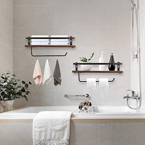 PHUNAYA Long Floating Shelves With Towel Holder And HooksSet Of 2Rustic Wood And Black Metal 17inchfor BathroomKitchenBedroom 0 0