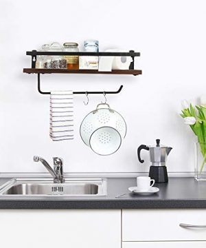 PHUNAYA Long Floating Shelves With Towel Holder And HooksSet Of 2Rustic Wood And Black Metal 17inchfor BathroomKitchenBedroom 0 1 300x360