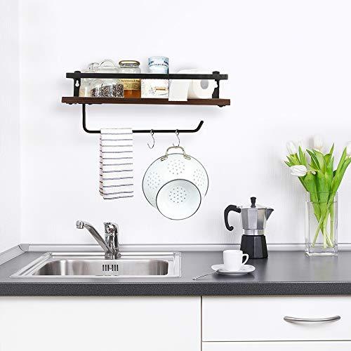 PHUNAYA Long Floating Shelves With Towel Holder And HooksSet Of 2Rustic Wood And Black Metal 17inchfor BathroomKitchenBedroom 0 1