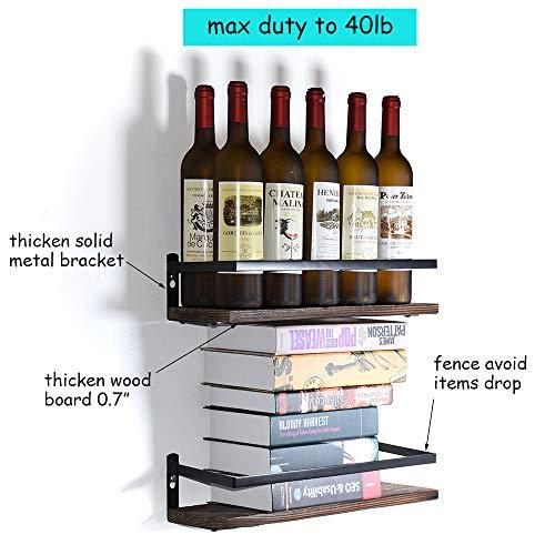 PHUNAYA Long Floating Shelves With Towel Holder And HooksSet Of 2Rustic Wood And Black Metal 17inchfor BathroomKitchenBedroom 0 3