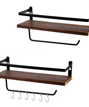 PHUNAYA Long Floating Shelves With Towel Holder And HooksSet Of 2Rustic Wood And Black Metal 17inchfor BathroomKitchenBedroom 0 300x360