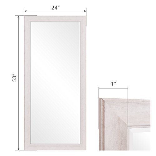 Patton Wall Decor 24 X 58 Beveled Leaner Classic White Washed Wood Frame Floor Mirror 0 4