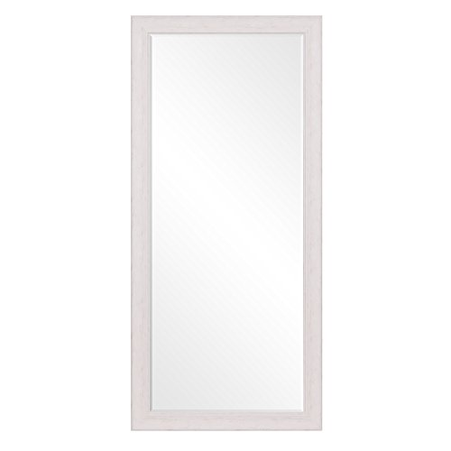 Patton Wall Decor 24 X 58 Beveled Leaner Classic White Washed Wood Frame Floor Mirror 0