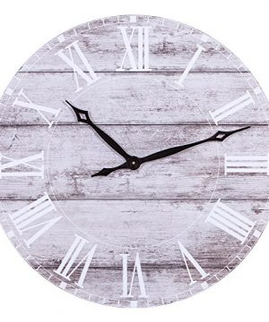 Patton Wall Decor 30 Inch 30 Frameless Rustic White Washed Wood Plank Wall Clock Gray 0 300x360