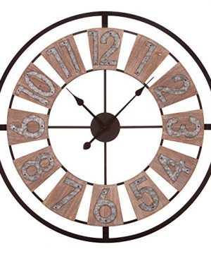 Patton Wall Decor 30 Inch Wood And Galvanized Metal Windmill Cut Wall Clock Brown 0 300x360