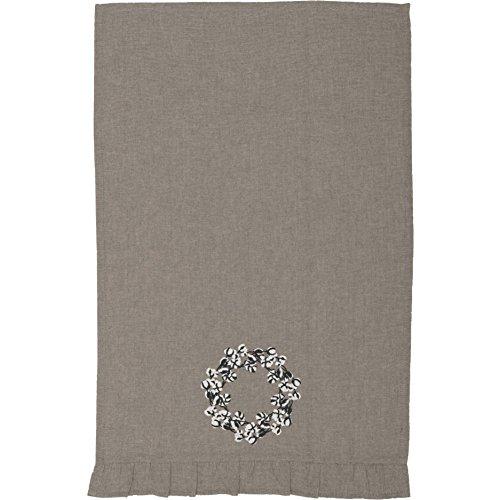 Piper Classics Farmhouse Cotton Wreath Towel 19x28 Taupe Grey Farmhouse Kitchen Decor 0 0