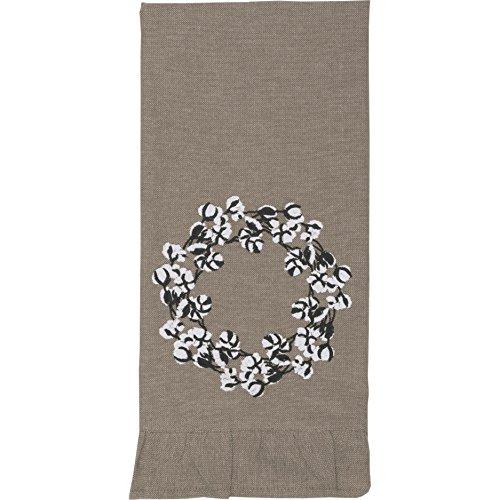 Piper Classics Farmhouse Cotton Wreath Towel 19x28 Taupe Grey Farmhouse Kitchen Decor 0 1