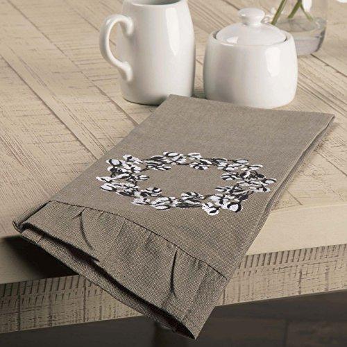 Piper Classics Farmhouse Cotton Wreath Towel 19x28 Taupe Grey Farmhouse Kitchen Decor 0