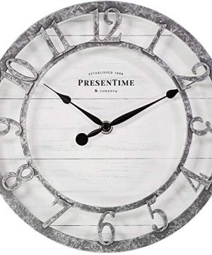 PresenTime Co 10 Farmhouse Series Wall Clock Quartz Movement Shiplap Style Raised 3D Arabic Numeral Galvanized Finish 0 300x360