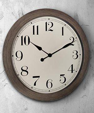 PresenTime Co 115 Farmhouse Series Retro Round Decorative Wall Clock Quartz Movement Battery Operated Grey Oak Finish 0 0 300x360