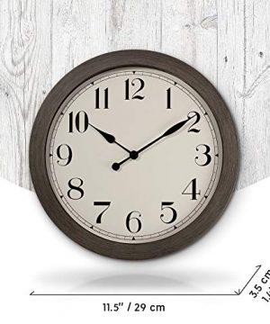 PresenTime Co 115 Farmhouse Series Retro Round Decorative Wall Clock Quartz Movement Battery Operated Grey Oak Finish 0 2 300x360