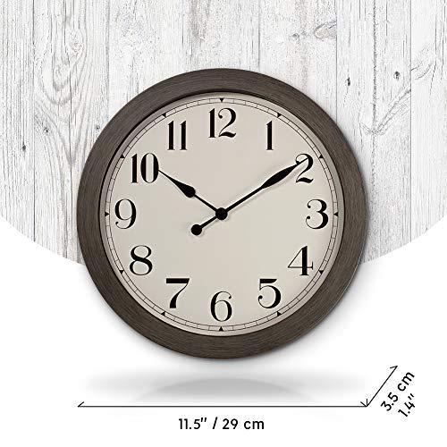 PresenTime Co 115 Farmhouse Series Retro Round Decorative Wall Clock Quartz Movement Battery Operated Grey Oak Finish 0 2