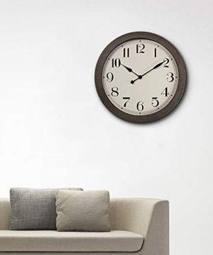 PresenTime Co 115 Farmhouse Series Retro Round Decorative Wall Clock Quartz Movement Battery Operated Grey Oak Finish 0 3 300x360