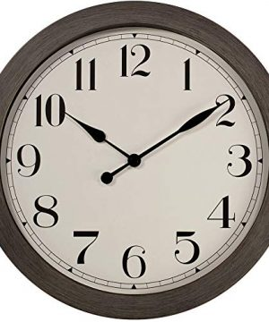 PresenTime Co 115 Farmhouse Series Retro Round Decorative Wall Clock Quartz Movement Battery Operated Grey Oak Finish 0 300x360