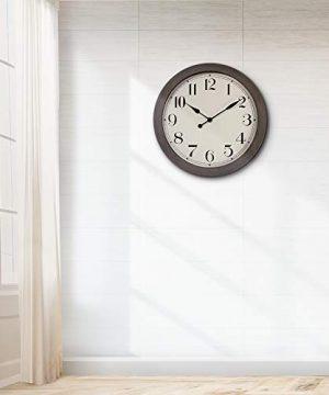 PresenTime Co 115 Farmhouse Series Retro Round Decorative Wall Clock Quartz Movement Battery Operated Grey Oak Finish 0 4 300x360