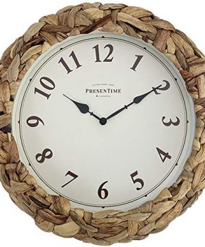 PresenTime Co Farmhouse Series Rustic Woven Clock 106 Inch Natural Woven Water HyacinthSea Grass 0 300x360