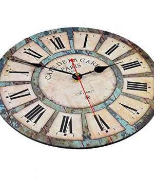 Qukueoy 14 Inch Silent Round Wooden Wall Clock Rustic Country Style Battery Operated Vintage Farmhouse Wall Decor For Living RoomKitchen Bedroom Or Office 14inch 0 0 300x360