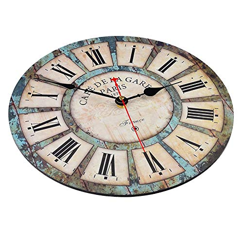 Qukueoy 14 Inch Silent Round Wooden Wall Clock Rustic Country Style Battery Operated Vintage Farmhouse Wall Decor For Living RoomKitchen Bedroom Or Office 14inch 0 0