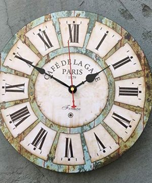 Qukueoy 14 Inch Silent Round Wooden Wall Clock Rustic Country Style Battery Operated Vintage Farmhouse Wall Decor For Living RoomKitchen Bedroom Or Office 14inch 0 3 300x360