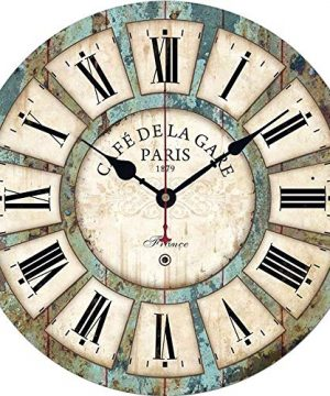 Qukueoy 14 Inch Silent Round Wooden Wall Clock Rustic Country Style Battery Operated Vintage Farmhouse Wall Decor For Living RoomKitchen Bedroom Or Office 14inch 0 300x360