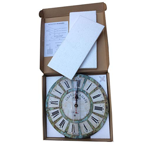 Qukueoy 14 Inch Silent Round Wooden Wall Clock Rustic Country Style Battery Operated Vintage Farmhouse Wall Decor For Living RoomKitchen Bedroom Or Office 14inch 0 4