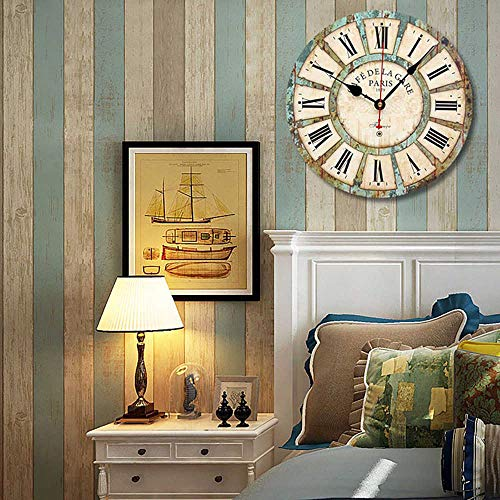 Qukueoy 14 Inch Silent Round Wooden Wall Clock Rustic Country Style Battery Operated Vintage Farmhouse Wall Decor For Living RoomKitchen Bedroom Or Office 14inch 0 5