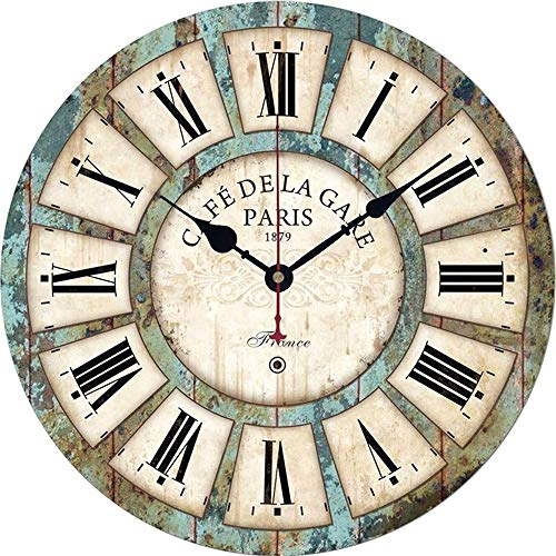 Qukueoy 14 Inch Silent Round Wooden Wall Clock Rustic Country Style Battery Operated Vintage Farmhouse Wall Decor For Living RoomKitchen Bedroom Or Office 14inch 0