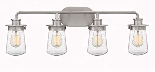 Quoizel LWN8604BN Lewiston Farmhouse Vanity Bath Lighting 4 Light 400 Watts Brushed Nickel 11H X 30W 0