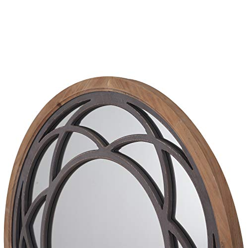 Rustic Round Decorative Wall Mirror 30 Inch With Wood Frame For Living Room Bathroom Kitchen Wall Decor Farmhouse Goals