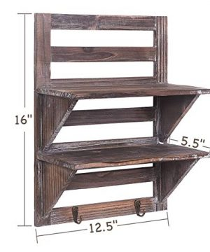 Rose Home Fashion RHF Rustic Shelves Bathroom Shelf Over Toilet Wood Wall Mounted Shelves For Bathroom Floating Shelves Wall Shelves 2 Hooks 2 TierWall Hanging Shelf Organiser Rack Brown 2 Tier 0 0 300x360