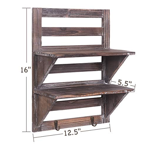 Rose Home Fashion RHF Rustic Shelves Bathroom Shelf Over Toilet Wood Wall Mounted Shelves For Bathroom Floating Shelves Wall Shelves 2 Hooks 2 TierWall Hanging Shelf Organiser Rack Brown 2 Tier 0 0