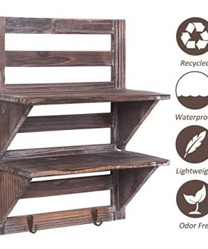 Rose Home Fashion RHF Rustic Shelves Bathroom Shelf Over Toilet Wood Wall Mounted Shelves For Bathroom Floating Shelves Wall Shelves 2 Hooks 2 TierWall Hanging Shelf Organiser Rack Brown 2 Tier 0 1 300x360