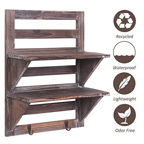 Rose Home Fashion RHF Rustic Shelves Bathroom Shelf Over Toilet Wood Wall Mounted Shelves For Bathroom Floating Shelves Wall Shelves 2 Hooks 2 TierWall Hanging Shelf Organiser Rack Brown 2 Tier 0 1
