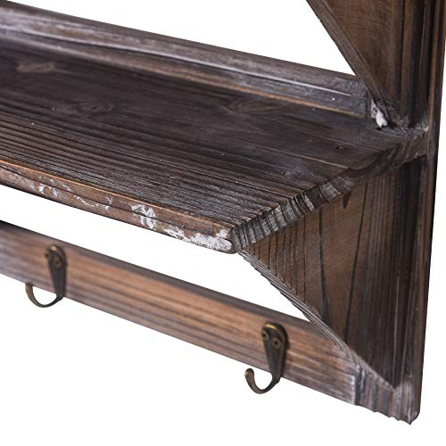 Rose Home Fashion RHF Rustic Shelves Bathroom Shelf Over Toilet Wood Wall Mounted Shelves For Bathroom Floating Shelves Wall Shelves 2 Hooks 2 TierWall Hanging Shelf Organiser Rack Brown 2 Tier 0 2