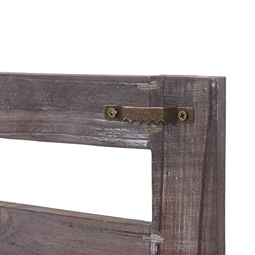 Rose Home Fashion RHF Rustic Shelves Bathroom Shelf Over Toilet Wood Wall Mounted Shelves For Bathroom Floating Shelves Wall Shelves 2 Hooks 2 TierWall Hanging Shelf Organiser Rack Brown 2 Tier 0 3