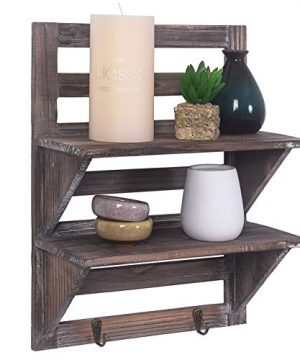 Rose Home Fashion RHF Rustic Shelves Bathroom Shelf Over Toilet Wood Wall Mounted Shelves For Bathroom Floating Shelves Wall Shelves 2 Hooks 2 TierWall Hanging Shelf Organiser Rack Brown 2 Tier 0 5 300x360