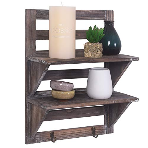 Rose Home Fashion RHF Rustic Shelves Bathroom Shelf Over Toilet Wood Wall Mounted Shelves For Bathroom Floating Shelves Wall Shelves 2 Hooks 2 TierWall Hanging Shelf Organiser Rack Brown 2 Tier 0 5