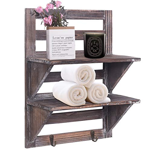 Rose Home Fashion RHF Rustic Shelves Bathroom Shelf Over Toilet Wood Wall Mounted Shelves For Bathroom Floating Shelves Wall Shelves 2 Hooks 2 TierWall Hanging Shelf Organiser Rack Brown 2 Tier 0