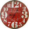 Round Red Decorative Wall Clock With Big Numbers And Distressed Old Town Face 23 X 23 Inches Quartz Movement 0 100x100