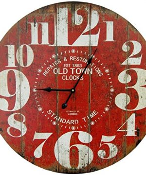 Round Red Decorative Wall Clock With Big Numbers And Distressed Old Town Face 23 X 23 Inches Quartz Movement 0 300x360