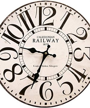 Round White Railway Decorative Clock With Black Numbers 13 X 13 Inches Quartz Movement 0 300x360