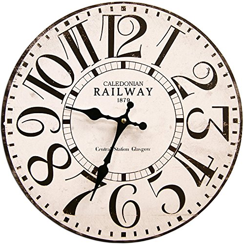 Round White Railway Decorative Clock With Black Numbers 13 X 13 Inches Quartz Movement 0