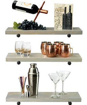 Rustic Farmhouse 3 Tier Wood Shelves With Black Pipe Brackets White Wash 3 Tier 0 0 300x360