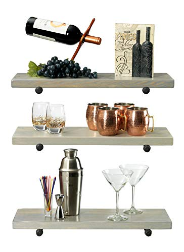 Rustic Farmhouse 3 Tier Wood Shelves With Black Pipe Brackets White Wash 3 Tier 0 0