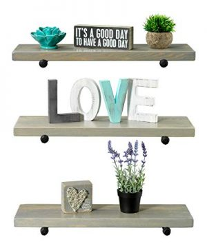 Rustic Farmhouse 3 Tier Wood Shelves With Black Pipe Brackets White Wash 3 Tier 0 1 300x360