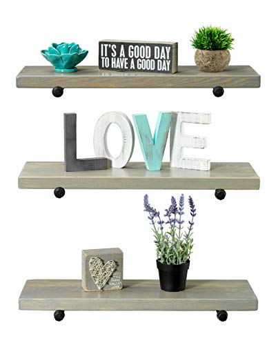 Rustic Farmhouse 3 Tier Wood Shelves With Black Pipe Brackets White Wash 3 Tier 0 1