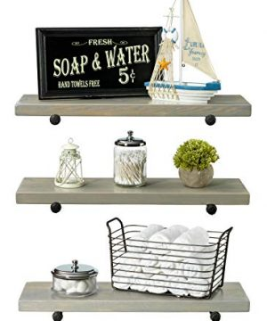 Rustic Farmhouse 3 Tier Wood Shelves With Black Pipe Brackets White Wash 3 Tier 0 300x360