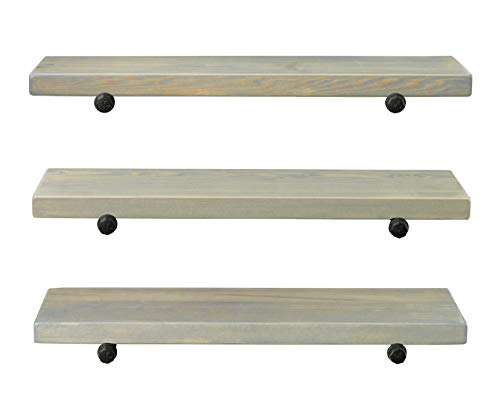 Rustic Farmhouse 3 Tier Wood Shelves With Black Pipe Brackets White Wash 3 Tier 0 5