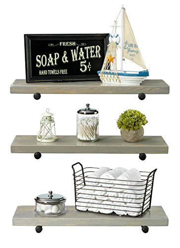 Rustic Farmhouse 3 Tier Wood Shelves With Black Pipe Brackets White Wash 3 Tier 0